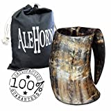 AleHorn – The Original Handcrafted Authentic Viking Drinking Horn 20oz Tankard for Beer, Mead, Ale – Medieval Inspired Stein Mug – Food Safe Vessel With Handle …