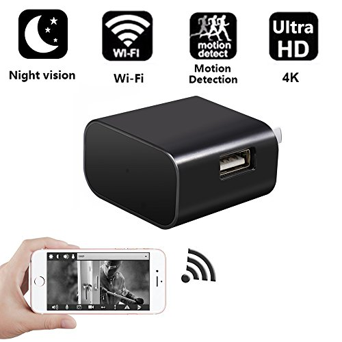 Ultra HD 4k USB Charger Camera, TenGong WiFi Hidden Spy Camera Mini Nanny Cam Video Recorder Wireless IP USB Wall Adapter Surveillance for Indoor Home Security Monitoring Night Vision Motion Detection