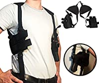 "Holster Concealed Shoulder for Pistols | Fully Adjustable Comfortable | Thin Profile | Double Magazine Holder | 2"" to 4"" Barrel Side Arm 