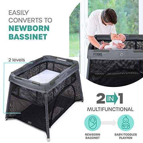 516pHgEwUwL - 2 In 1 Travel Crib & Bassinet – Lightweight, Pack Play-Yard For Infants & Toddlers. Simple Assembly & Easily Collapsible. Portable Crib, Baby Bed. Mattress & Fitted Sheet Included