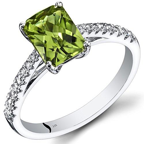 14K White Gold Peridot Ring Radiant Cut 1.50 Carats Size 7