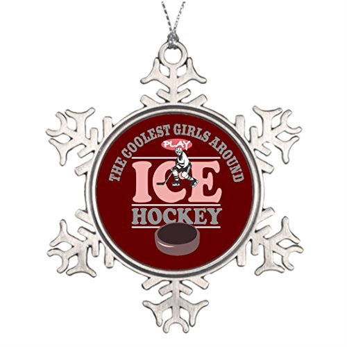 Personalised Christmas Tree Decoration The Coolest Girls Around Play Ice Hockey Stained Glass Snowflake Ornaments -