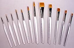 12 Gold Taklon Clear Acrylic Handle Art, Craft, Hobby Paint Brushes, Short Handles, New