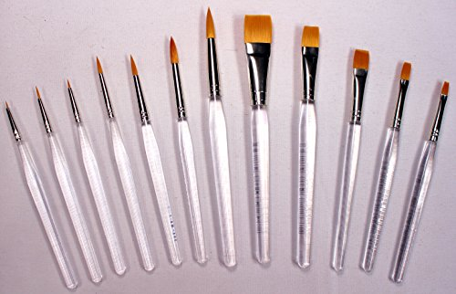 12 Gold Taklon Clear Acrylic Handle Art, Craft, Hobby Paint Brushes, Short Handles, New (Taklon Brush)