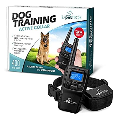 "Remote-Controlled Dog Shock Collar ""Lifetime Replacement Guarantee"" - 1200 FT Range - 4 Modes (Shock, Light, Vibration & Beep) Safe For All Size Dogs (10Lbs - 100Lbs) - Rechargeable & Waterproof. by PetTech"