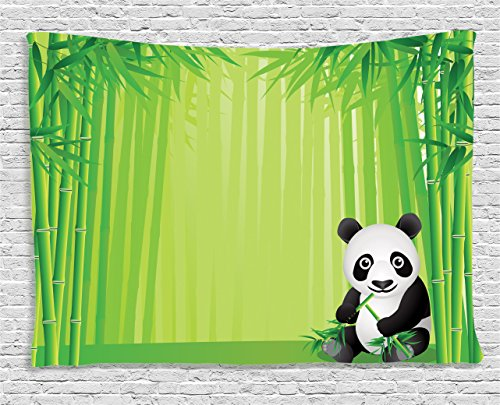 Ambesonne Animal Decor Collection, Panda in a Bamboo Forest Summertime Decorating Tropical Asian Nature Theme Picture, Bedroom Living Room Dorm Wall Hanging Tapestry, 80 X 60 Inches, Green Black White -