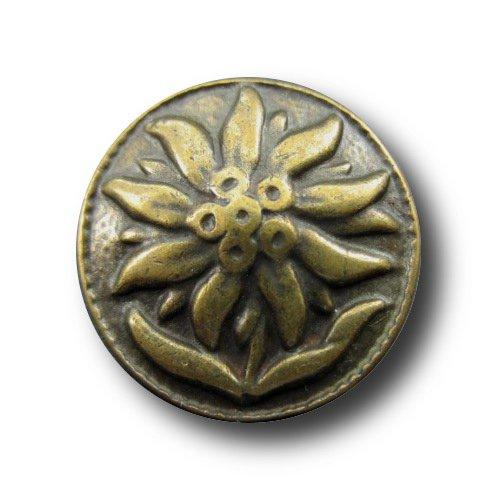 Button Paradise Sewing Buttons - Set of 5 Beautiful Metal Buttons, Edelweiss Theme, Bavarian Garbs, Dirndls - Colour: Antique Brass, Ø approx. 0.9