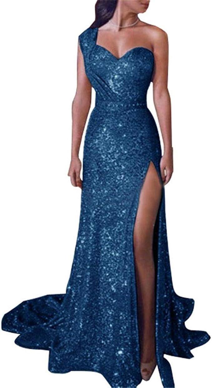 ZLDDE Damen Elegant Abendkleid Frauen Pailletten Schulterfrei