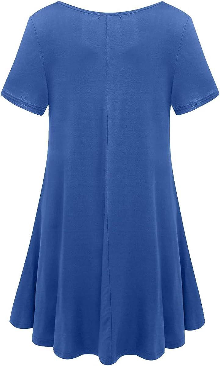 BELAROI Kleider Damen Sommerkleid Blusenkleid A Linie Kleid Casual Freizeitkleid Kurzarm Tunikakleid Lose Fit Strandkleid