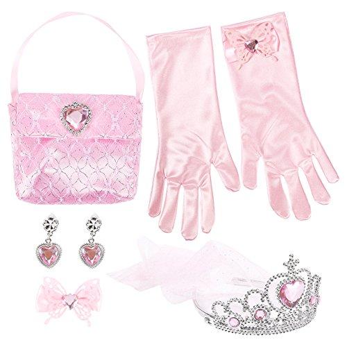 5-Pack Princess Dress Up Toys, Includes Princess Tiara, Hair