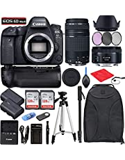 Canon EOS 6D Mark II DSLR Camera + EF 50mm f/1.8 STM + EF 75-300mm f/4-5.6 III Bundle with Accessories (256Gb Memory Card, Battery Grip, Extra Battery, Backpack, Travel Charger and More)