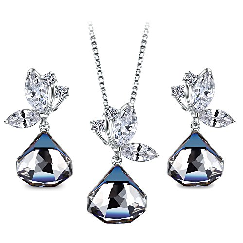 (T400 Blue Black Butterfly Crystal Cubic Pendant Necklace and Drop Earrings Jewelry Set Birthday Gift for Women)