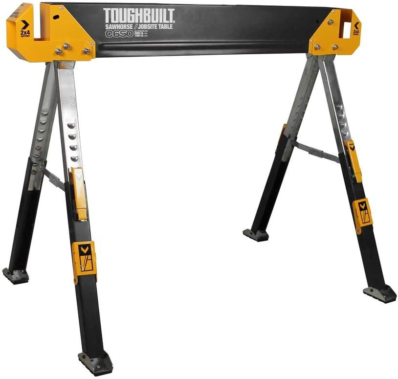 ToughBuilt - Folding Sawhorse/Jobsite Table - Sturdy, Durable, Lightweight, Heavy-Duty, 100% High Grade Steel, 1300lb Capacity, Pivoting Feet, Adjustable Height Legs, Easy Carry Handle (TB-C650) NEW