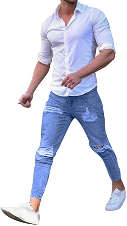 Reooly Skinny Moto Jeans Pantalones de Mezclilla con Ajuste ...