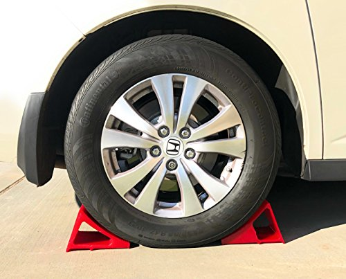 Tire & Wheel Chock - Ideal Camping Accessory for RV Motorhome, Trailer, Truck, Motorcycle & Car. Weatherproof, Outdoor Grade, Polyurethane Better Than Rubber or Plastic, 5 Year Warranty, 2 Pack Red by Elasco Products (Image #8)