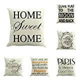 6Pack Black White Letters Cotton Linen Square Throw Pillow Cover...