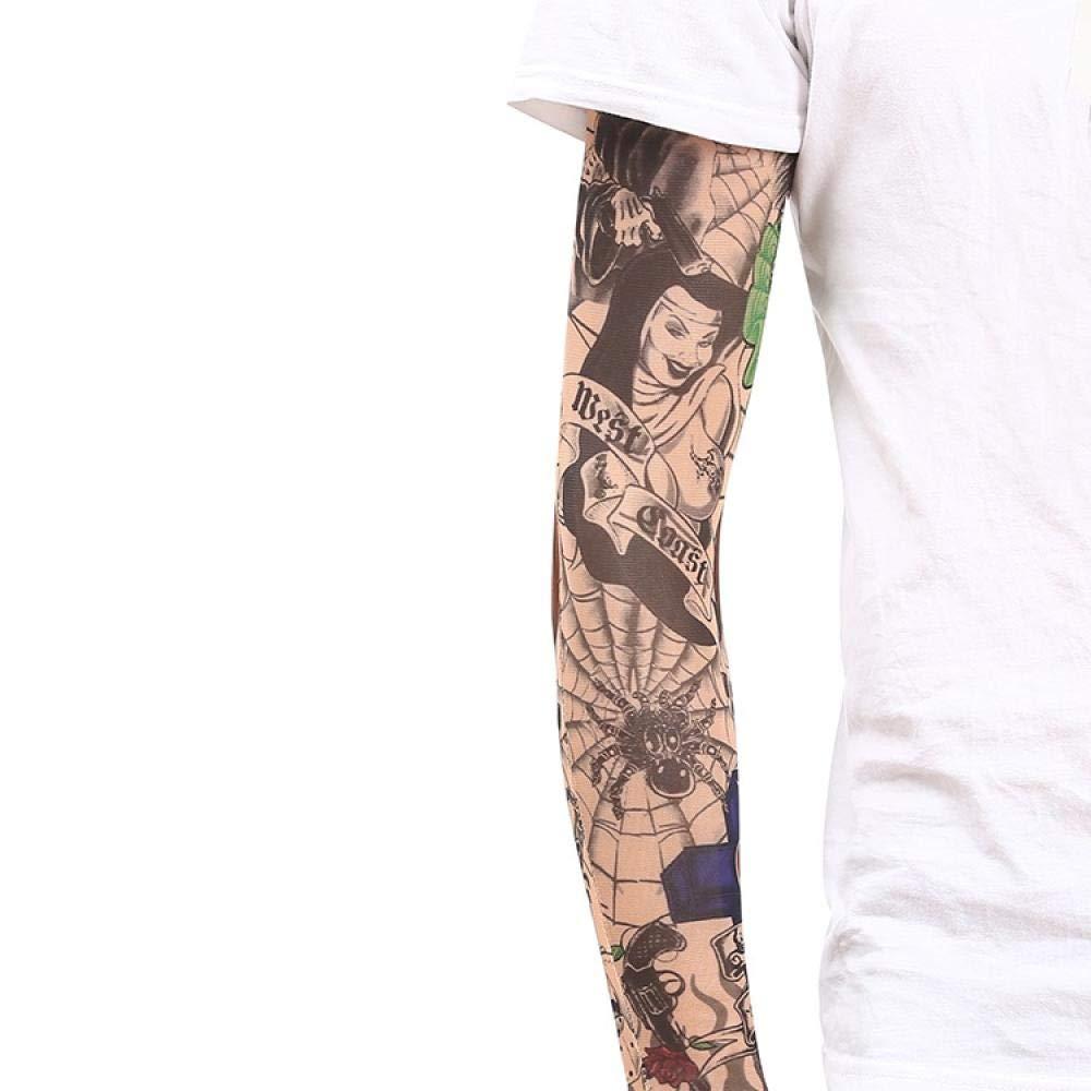 Ffooxxii Tattoo Sleeve Flower Arm Tattoo Summer Ice Silk Sun Visor Gloves Sleeve Men Long Ride Run Men Ice Sleeve Women@One size_28 models 2