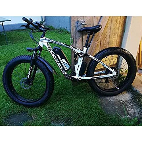 Cyrusher XF800 1000W Electric Mountain Bike 26inch Fat Tire e-Bike Shimano 7 Speeds Beach Cruiser Mens Sports Mountain Bike Full Suspension,Lithium Battery Hydraulic Disc Brakes(White)