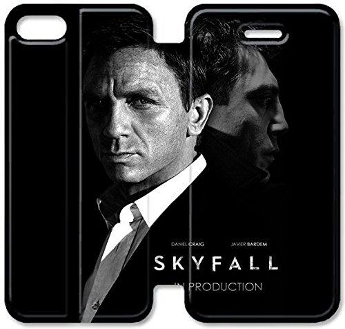 Coque iPhone 5 5S Coque Cuir, Klreng Walatina® PU Cuir de portefeuille de couverture Coque pour Coque iPhone 5 5S Design By James Bond Skyfall G0D7Sk