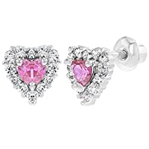 Rhodium Plated Small Clear Pink Heart Screw Back Earrings Baby Toddler Kids