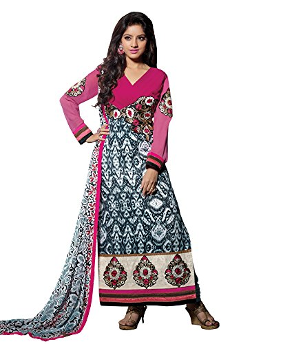 Vibes Women's Gorgette Salwar Suit Dress Material – Free Size, Multi-Coloured