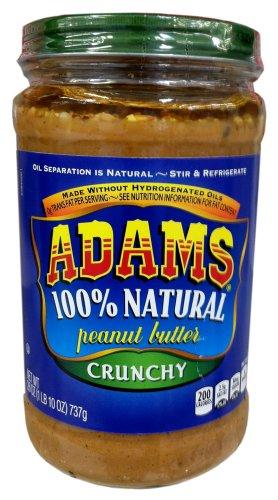 Adams 100% Natural CRUNCHY PEANUT BUTTER 26oz (2 Pack)