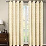 Cheap One Window Panel, Elegant and Contemporary Jacquard Tabitha Grommet Top Draperies. One Beige 54″ by 108″ Panel