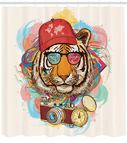 GoHeBe Hipster Tiger Sunglasses Background Pattern Shower Curtain Set 3D Printing Waterproof Coated Polyester Fabric Bathroom with 12 Hooks 71 inches ()