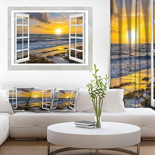 Open Window to Bright Yellow Sunset Modern Seascape Canvas Artwork