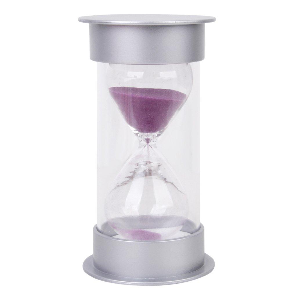 10 Minutes Hourglass Sandglass Sand Timer Silver Lid Purple Sand Generic TTAZKAL0964