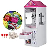 Happybuy 150W Mini Claw Crane Machine Metal Case with Led Flashing Lights Loud Sound Effect and Coins Electronic Arcade Game Doll Balls Candy Toy Catcher Toy Grabber Claw Machine for Kids Carnival