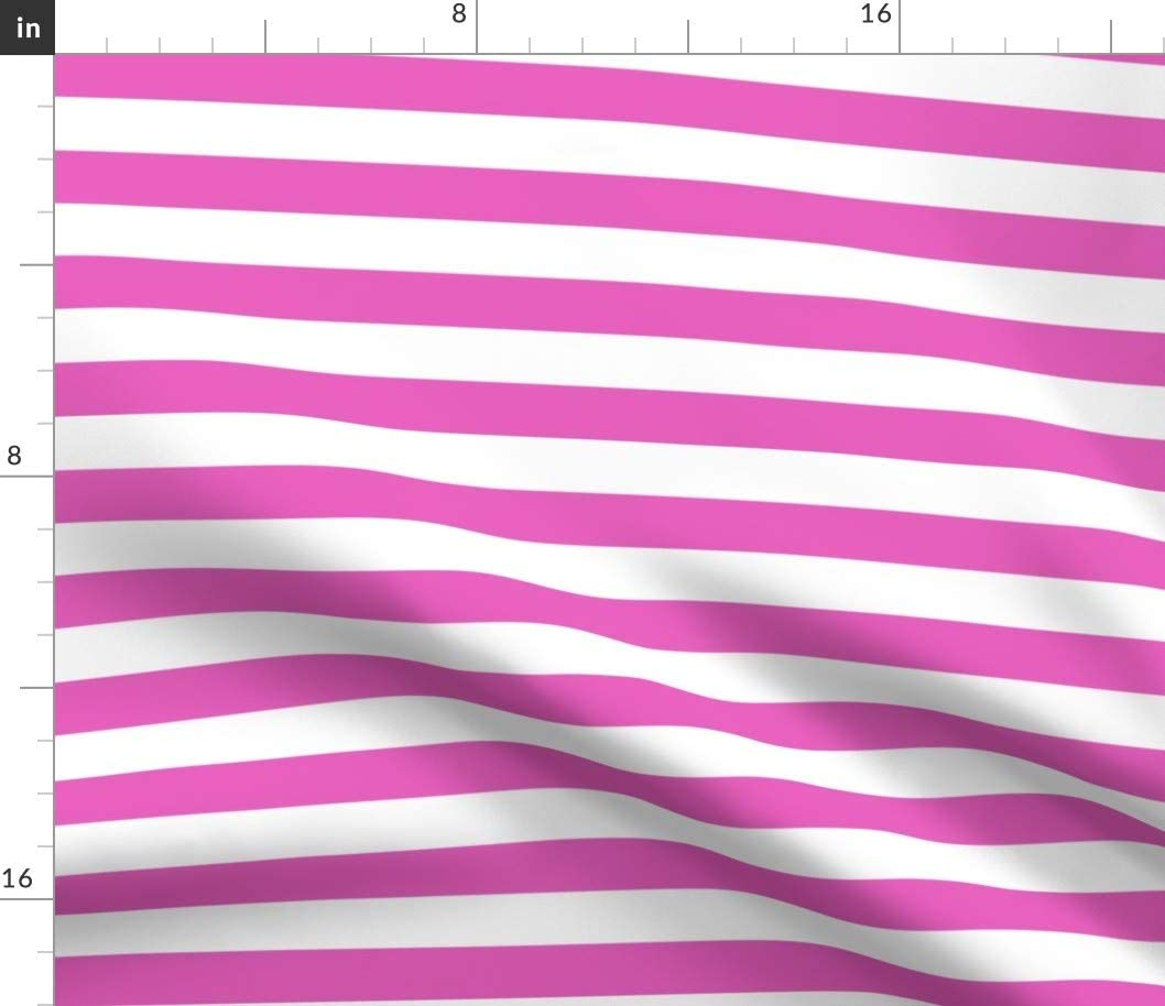 Spoonflower Fabric - Stripes Horizontal Light Pink White Stripe Sweet Striped Printed on Upholstery Velvet Fabric by The Yard - Upholstery Home Decor Bottomweight Apparel