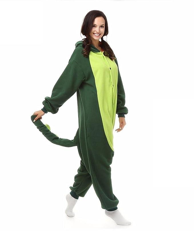 Amazon.com : HYY@ Kigurumi Pajamas Dinosaur Leotard/Onesie Halloween Animal Sleepwear Dark Green Patchwork Polar Fleece Kigurumi UnisexHalloween : Sports & ...