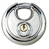 1PC 70mm Good Duty Stainless Steel Armor Brass Cylinder Disc Padlock Rustproof 2 Keys Waterproof Round Lock