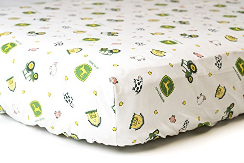 John Deere Crib Sheet with JD Logo and Farm Animals, Fitted, White - Farm Animal Crib Sets