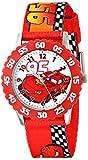 Disney Kids' W001227 Cars Lightning McQueen Stainless Steel with Red Bezel Watch