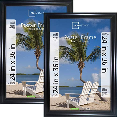 Mainstays 24x36 Wide Poster Frame, Black, 2pk
