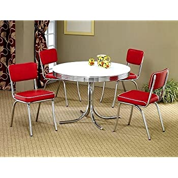 5pcs Retro White Round Dining Table U0026 4 Red Chairs Set