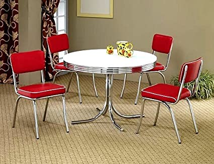 Etonnant 5pcs Retro White Round Dining Table U0026 4 Red Chairs Set