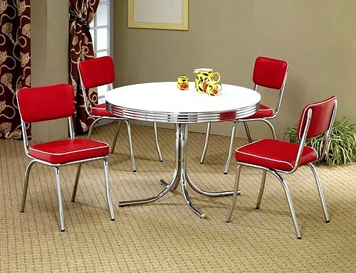 5pcs Retro White Round Dining Table & 4 Red Chairs Set -