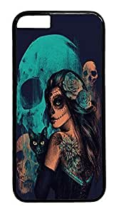 iPhone 6 Plus Case, Day Of The Dead Women Black Cat And Skull Designer Rugged Hard Plastic Back Case Cover Protector for Apple iPhone 6 Plus(5.5INCH) PC Black by ruishername