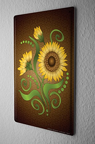 Tin Sign Plants Decoration yellow sunflower on brown background
