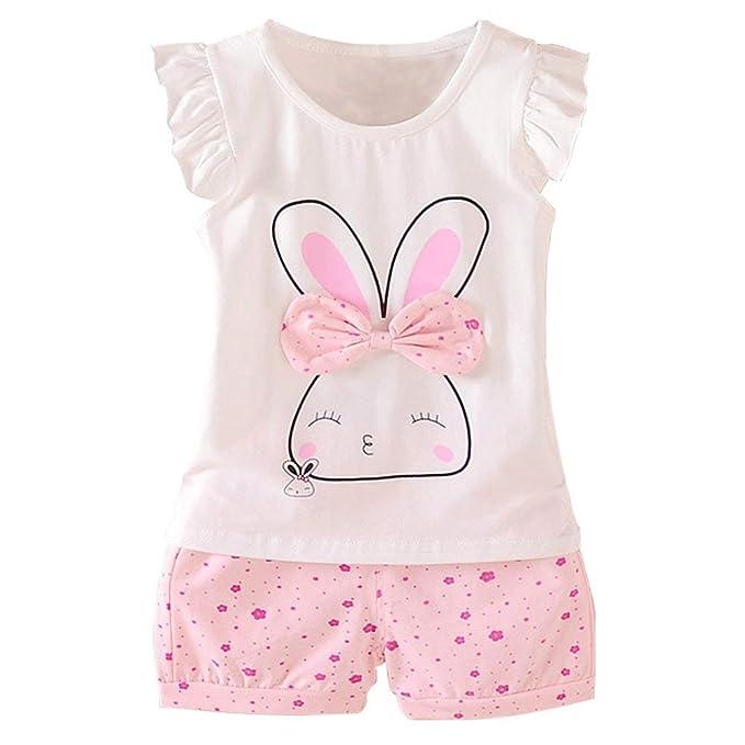 9d4096f00c953 i-Auto Time 2Pcs Kids Baby Girl Clothes Short Sleeve T-Shirt + Pants ...
