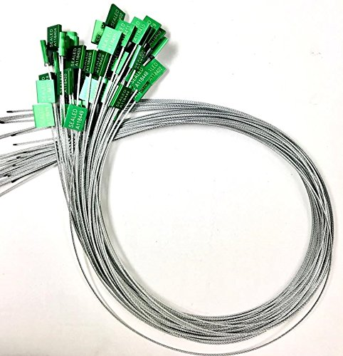 "40"" length 1/12"" inches thick 2mm Green Galvanized Steel Seals –Pull tight cable Seal -Truck Door Seals –Metal Seals –Strap Seals – – Same day Shipping (20 locks package) by AVG Packaging Supplies (Image #1)"