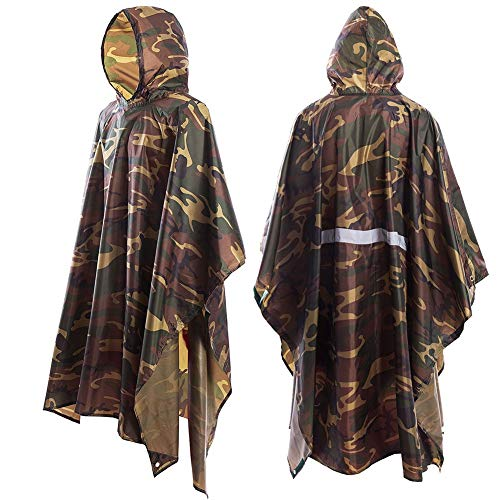 JTENG Rain Poncho Waterproof Ripstop Hooded US PVC Camouflage Rain Coat (Maple Leaf) -