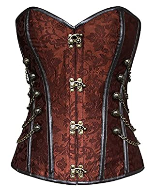 Charmian Women's Spiral Steel Boned Steampunk Gothic Bustier Corset with Chains
