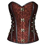 Charmian Women's Spiral Steel Boned Steampunk Gothic Bustier Corset with Chains 6