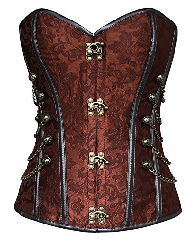 Charmian Women's Spiral Steel Boned Steampunk Gothic Bustier Corset with Chains Brown -
