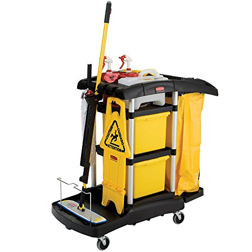 Cart Microfiber Janitor (TableTop king FG9T7400BLA HYGEN Microfiber High Capacity Janitor Cart with Color Coded Pails)