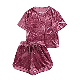 MakeMeChic Women's 2 Piece Outfits Summer Velvet Crop Top Tee Shirt and Shorts Pajama Sets